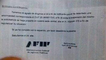 AFIP advierte sobre estafa que llega por
