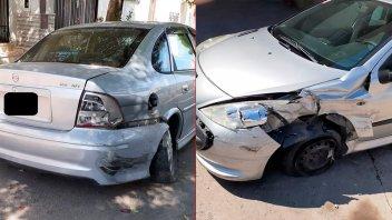 Un auto chocó a otro que estaba estacionado en pleno centro de Paraná