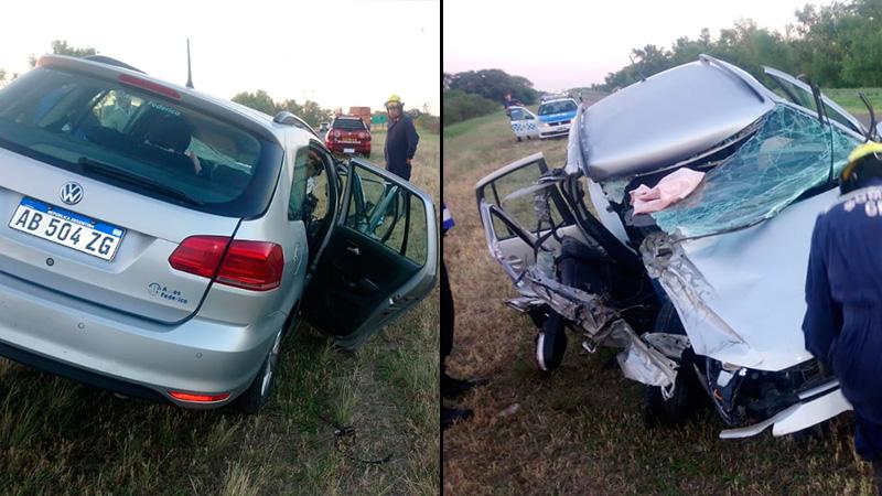 Hospitalizaron a tres personas tras impresionante choque en la Ruta 12.