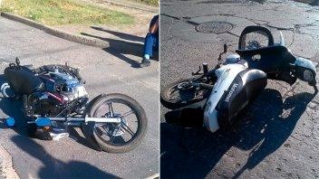 Dos motos chocaron en una esquina de Paraná y hospitalizaron a una joven