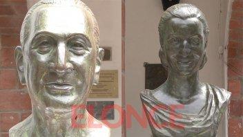 Así lucen los restaurados bustos de Perón y Evita en el ingreso a Escuela Hogar