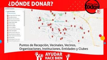 El mapa solidario de Once por Todos: Los puntos de recepción de donaciones